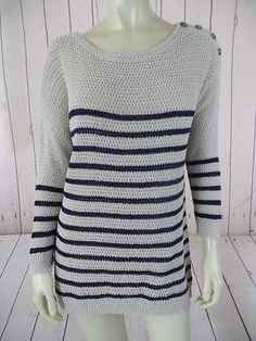 ANN TAYLOR LOFT Sweater L Beige Navy Striped Knit Linen Cotton Blend NAUTICAL!
