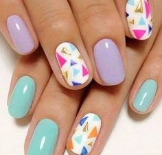 Pastel Triangle Nails