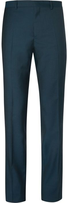 $295, Paul Smith Ps By Petrol Slim Fit Wool And Mohair Blend Trousers. Sold by MR PORTER. Click for more info: https://lookastic.com/men/shop_items/328796/redirect