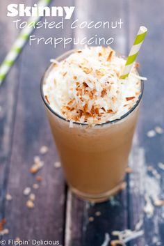 This tropical Toasted Coconut Frappuccino is so creamy and refreshing. You'd never guess it was a skinny recipe! Naturally gluten-free, with a dairy-free option too.