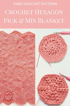 Hexagon Crochet Pattern, Crochet Hexagon Blanket, Granny Square Pattern Free, Crochet Blocks, Crochet Stitches Patterns, Crochet Squares, Crochet Motif, Diy Crochet, Crochet Baby