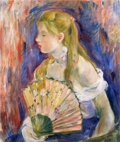 Young Girl with a Fan: 1893 by Berthe Morisot (Private Collection) - Impressionism