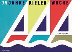 Gert Brunck: Kieler Woche 1957: Originalentwurf, Farboffset 59,5 x 42 cm Herausgeber: Kieler-Woche-Büro des Presseamtes der Landeshauptstadt Kiel ...