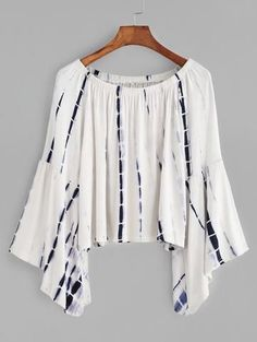 - Boho Belle Blouse - Fabric is stretchy - White with navy tie dye - Peasant blouse - Elegant sleeves - Fit + flare - One size fits all - Please allow 2-3 weeks for delivery due to popularity.
