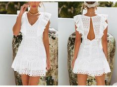 Simplee Elegant cotton embroidery women summer dress Ruffled high waist korean white dress Vintage sexy v-neck party mini dress Lace Evening Gowns, Evening Party Gowns, Party Gown Dress, White Mini Dress, Embroidery Dress, Summer Dresses For Women, Cotton Dresses, Homecoming Dresses, Vintage Dresses