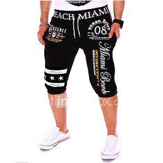 78276250920 Men s Active Cotton Loose   Sweatpants Pants - Letter Print Black   Sports    Weekend
