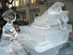 Warning: when you first sit down to play your piano today, gloves and a heated blanket may be needed. It's just a little chilly!  #ice #music #sculpture