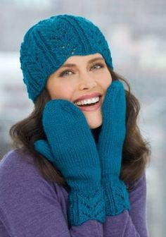 Lacy Leaf Hat & Mittens in Red Heart Soft Solids - LW2195