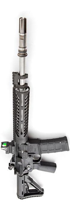 Umbrella Corporation lower, Trijicon RMR, Seekins Precision, Battle Arms Development, and AAC muzzle. Photo by Stickman.