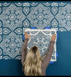 Portuguese tile stencil pattern – Azulejos tile design – Spanish tile stencils – Cutting Edge Stencils Portuguese tile stencil pattern – Azulejos tile design – Spanish tile stencils Bright and bold feature wall in our warehouse using Alhambra Tile Stencil Wall Stencil Patterns, Stencil Diy, Stencil Painting, Stencil Designs, Paint Designs, Painting Walls, Wall Stenciling, Tile Stencils, Stencil Walls