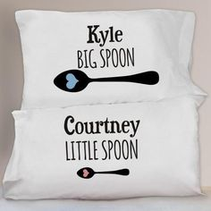 Big Spoon & Little Spoon Couples Pillowcase Set Personalised Gifts Unique, Personalized Pillow Cases, Unique Gifts, Great Gifts, Big Spoon Little Spoon, Couple Pillowcase, Romantic Gifts For Her, Big Little, Creative Gifts