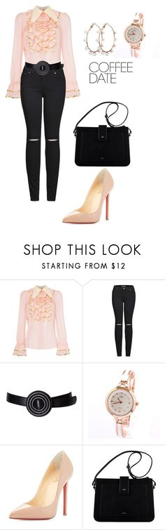 """""""Untitled #2839"""" by nadia-n-pow ❤ liked on Polyvore featuring Gucci, 2LUV, Yves Saint Laurent, Christian Louboutin and CoffeeDate"""