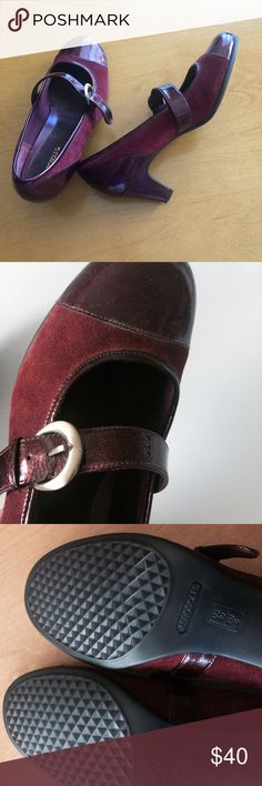 "Aerosoles burgundy shoes Aerosolea burgundy patent leather and suede shoes. Never worn. Adjustable strap.  2-1/2"" heel. Color is slightly darker than the pictures show. AEROSOLES Shoes Heels"