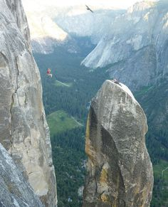Photo Credit: Dean Olin -- Lost Arrow Spire, Yosemite Valley, California. Doing a Tyrolean traverse after climbing the Lost Arrow. I went first and took this picture with my friend John traversing with Spencer on the LA tip. This was a first time experience for all 3 of us. -- via our #ShareYourAdventure photo contest. Show off your photos too: http://stp.me/SYAPContest!