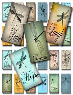 Dragonflies Ephemera and Words of Inspiration 1 x 2 Domino Size 24 Different Designs The sheet will print on standard by 11 inch paper Domino Crafts, Domino Art, Crafts To Make, Arts And Crafts, Paper Crafts, 2x4 Crafts, Paper Art, Domino Jewelry, Site Art