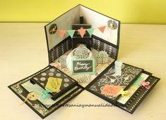 "Arte, Artesania y Manualidades: Explosion Box ""Happy Birthday"" Birthday Explosion Box, Birthday Box, Birthday Gifts, Happy Birthday, Diy Gift Box, Diy Box, Diy Gifts, Valentines Bricolage, Valentines Diy"
