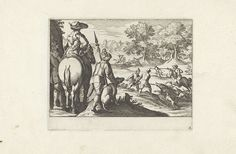 Anonymous | Jacht op een zwijn, Anonymous, Antonio Tempesta, Claes Jansz. Visscher (II), 1624 | In een boomrijk landschap jagen honden en jagers op wilde zwijnen. Op de voorgrond een ruiter met twee knechten en een hond.