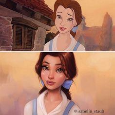 Redesenhando princesas da Disney com um toque realista, por Isabelle Staub - A ilustradora freelancer Isabelle Staub redesenha algumas princesas da Disney como Ariel, Jasmine e Pocahontas com um toque totalmente pessoal e realista.