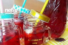 Mevlüt Şerbeti Tarifi Sorbet, Mason Jars, Diy And Crafts, Food And Drink, Mugs, Drinks, Tableware, Syrup, Kittens