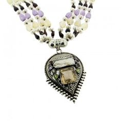 Bali Sterling Silver Pendant with Beaded Necklace - Purple Leopard Boutique