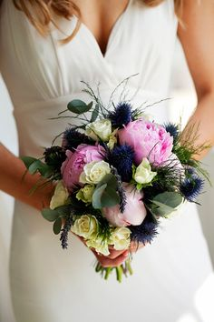 pink, cream and blue bouquet Blue Bouquet, Beautiful Bouquets, Wedding Inspiration, Wedding Ideas, Showcase Design, Getting Married, Real Weddings, Bliss, Wedding Flowers