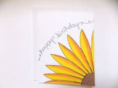 Birthday Card Yellow Sunflower Generic By Happydoodlesbykatie 375