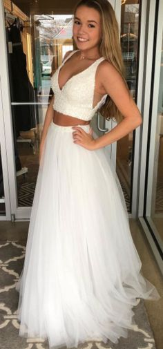2018 two piece white long prom dress, princess v neck white long prom dress party dress