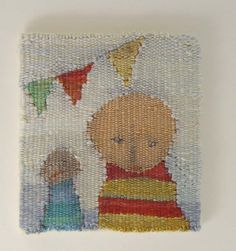 Miniature woven tapestry Carnival with two people via Etsy