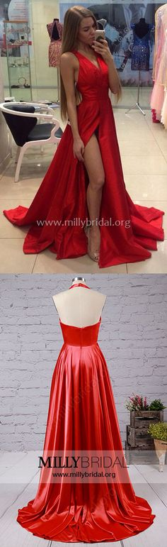 Long Prom Dresses,Cheap Prom Dresses Red,Empire Prom Dresses with Split Front,Sexy Prom Dresses Sleeveless