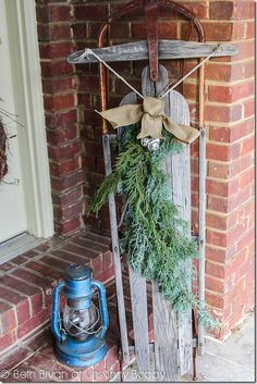 Christmas Decorations Ideas 2012 good decorating idea with an old sled.   diy   pinterest   an