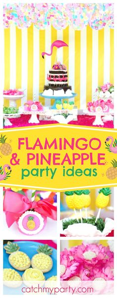 Don't miss this fabulous Flamingos and Pineapples summer birthday party!! The birthday cake is amazing!! See more party ideas and share yours at CatchMyParty.com