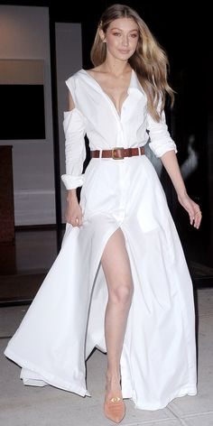Leave it to Gigi Hadid to show us how to elevate comfortable flats. The trick is to look for options in feminine hues, and you'll get bonus points for styles with embroidery, patches, or fur trimming. Hadid paired her peach Stuart Weitzman loafers ($498; stuartweitzman.com) with an easy maxi skirt by Adam Selman, which was cinched with a leather belt.     SH