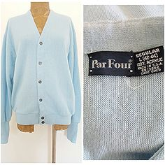Vintage 80s Par Four Sweater Size Large Cardigan Retro Mens Blue Golf USA #ParFour #Cardigan