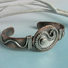 Metalsmith Jewelry - Mixed Metal Bracelet - Paisley Cuff Bracelet - Sterling Silver And Copper Jewelry - Unisex Jewelry - Artisan Jewelry on Etsy, $148.00