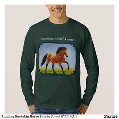 Running Buckskin Horse Blue Tshirt