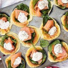 Tänk amerikansk pannkaka fast som muffins - med goda grejer på. Toppa med bladspenat, rökt lax och krämig smetana. Funkar lika bra till frukost som till brunch och lunch.
