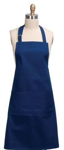 "A basic kitchen necessity, this full sized Blue Twilight apron has all the features you want to whip up meals, including a large front pocket and convenient loop for hanging a towel. Adjustable blue shoulder strap. Apron measures 26"" x 34"". Made of 100% cotton with front pocket."