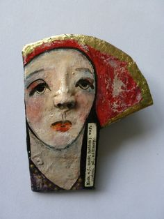 One of a kind papier mache brooch/ornament by mycuriousteaparty