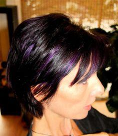 Violet Highlights in Brown Hair | Purple highlights on dark brown hair. | Hair Ideas -- I just did this to my hair last week & I LOVE it!!