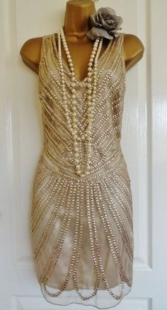 NWT 1920's flapper inspired gold beaded dress size UK 12 USA 8 EU 40 GATSBY