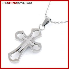 STAINLESS STEEL DOUBLE CROSS PENDANT NECKLACE P0212B