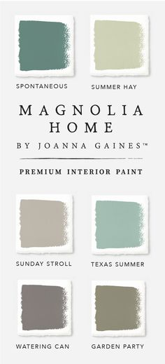 Bring a classic coastal feel into your home with this stunning color palette from the Magnolia Home by Joanna GainesTM paint collection. The soft shades of blue and green in Garden Party, Texas Summer and Spontaneous pair beautifully with a neutral gray like Sunday Stroll. Check out the rest of the collection to find inspiration for all your DIY projects.