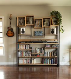 audio room audiophile vinyl storage Library for DJ turntable / control / vinyl / books, steel and wood, made entirely by hand in Quebec Home Music Rooms, Music Corner, Vinyl Room, Vinyl Record Storage, Vinyl Record Display, Record Shelf, Audio Room, Living Room Remodel, Living Spaces