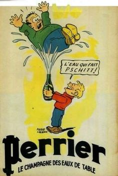 """livingnowisliving: """" Advertisement by Pierre Lacroix for Perrier (sparkling mineral water), last page of of cartoon Bibi Fricotin at Olympic Games, by Apic on Getty Images """" Retro Advertising, Retro Ads, Advertising Poster, Vintage Advertisements, Old Posters, Illustrations And Posters, Vintage Posters, Pub Vintage, Vintage Soul"""