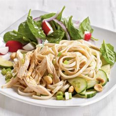 Dig into a simple end-of-summer pasta toss loaded with chicken, cucumbers, and peanuts. We use dried udon noodles; if using fresh noodles, you'll need about 11 ounces.