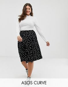 ASOS Curve | ASOS DESIGN Curve midi skirt with box pleats in polka dot