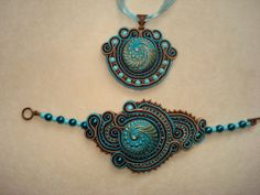 Turquoise and bronze soutache jewelry set by Beabead on Etsy