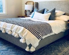 White and Black blankethandwoven throwtassel blankets Pom White Throw Blanket, Black Blanket, Make Blanket, Marrakech, Moroccan Bed, Twin Xl Bedding, My New Room, Kid Beds, Sofa Covers