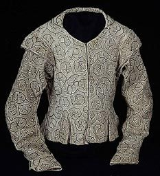 Doublet embroidered in silver and linen  16th century England  Ultra-simple design, embroidered in chain and seed (speckle?) stitches