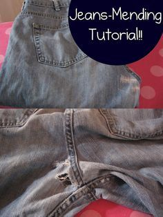 Essential jeans-mending tutorial!! The best ever! I never thought of this, and it looks totally invisible. Now I don't have to throw out my jeans when they rip up the butt like they always do. also @Rebekah Burney I thought of you and your pants mending patch from Meijer